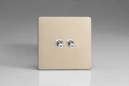 Varilight XENT2S Euro Satin Chrome 2 Gang 10A 1 or 2 Way Toggle Light Switch